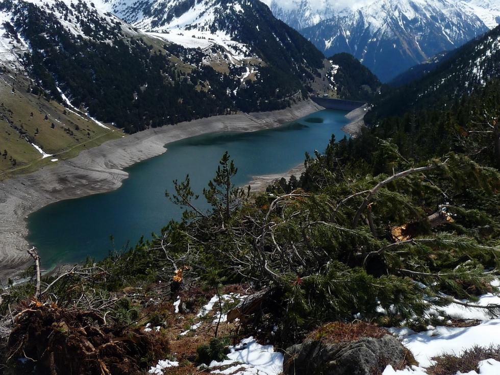 arbres-deracines-par-avalanche-lac-oule-raquette-printemps-vallon-estibere